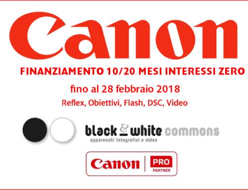Canon, finanziamento 10/20 mesi interessi zero
