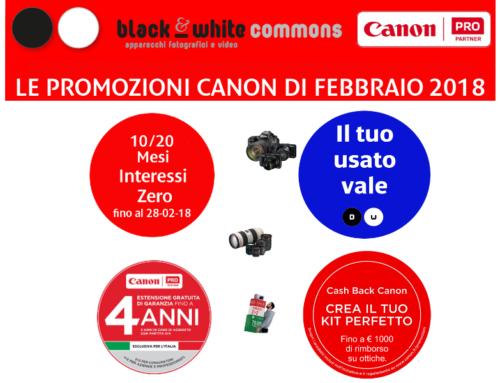 Tutte le promozioni Canon di Febbraio 2018